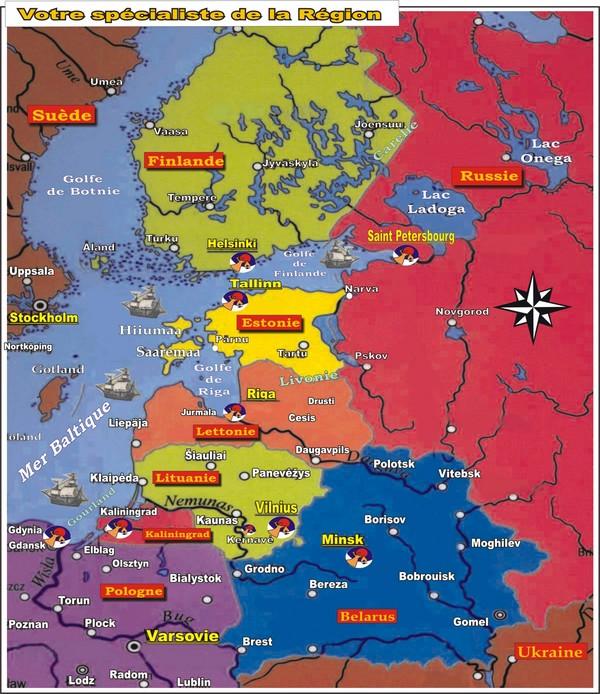 Carte des Pays Baltes et pays voisins
